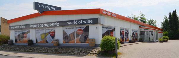 Worldofwine facade på vinbutikken i Rødovre